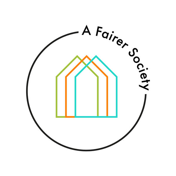 A Fairer Society logo: three houses in a circle, symbolising home, work, and community in a fairer society.